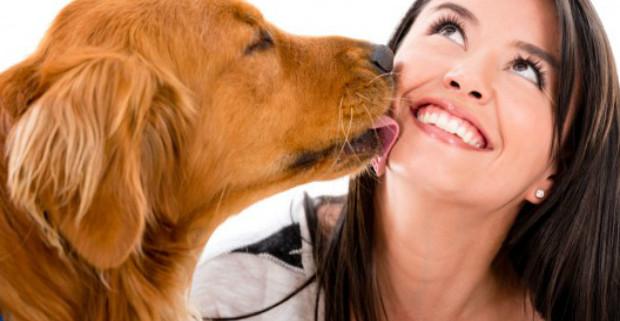 dog-licking-woman
